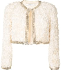 givenchy pre-owned ruffled cropped jacket - white