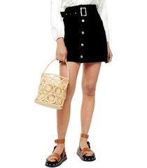 women's topshop button front belted denim miniskirt
