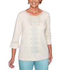 alfred dunner cottage charm embroidered bell sleeve top