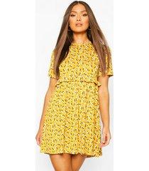 gesmokte bloemenprint jurk, mosterd