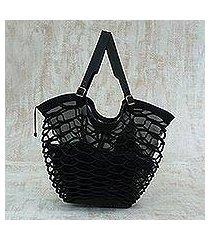leather shoulder bag, 'black sambura' (16 inch) (brazil)