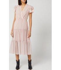 philosophy di lorenzo serafini women's polka dot lace midi dress - pink - it 44/uk 12