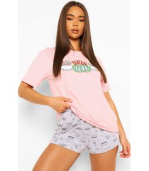 friends central perk pyjama set met shorts, pink