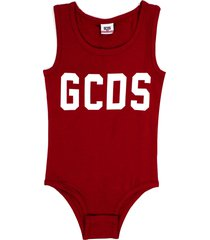 gcds red stretch cotton logo print bodysuit