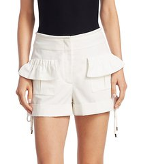 high-rise poplin ruffle shorts