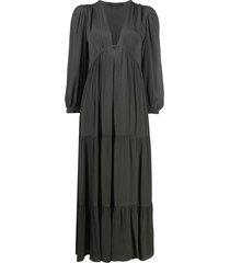 allsaints tiered empire-waist dress - grey