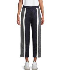 kenzo women's striped cropped pants - midnight blue - size 42 (10)