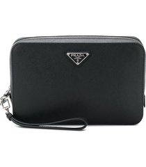 prada structured logo pouch - black