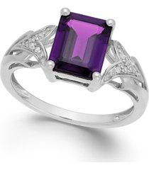 amethyst (2 ct. t.w.) and diamond accent ring in 14k white gold