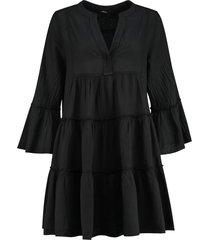 katoenen jurk met ruches rosaline  zwart