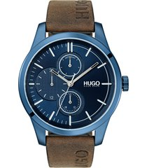 men's hugo discover multifunction leather strap watch, 46mm