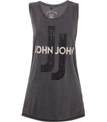 regata john john jj metal malha algodão cinza feminina (cinza medio, gg)
