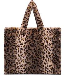 stand studio leopard-print faux fur tote bag - neutrals