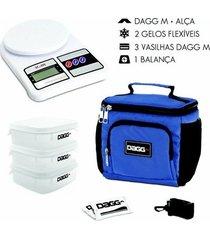 kit com bolsa térmica fitness dagg 1,5l e balança digital de cozinha até 5kg