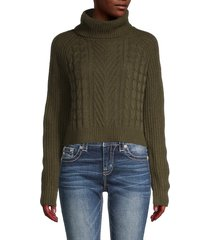 full circle women's cable-knit turtleneck sweater - forest night - size xl
