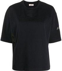 alberto biani nylon-panelled t-shirt - black