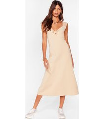 womens bowing places relaxed midi dress - caramel