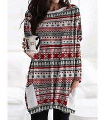 camicetta casual da donna con scollo a manica lunga con stampa a righe natalizie