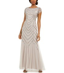 adrianna papell embellished godet-inset gown