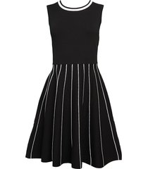 saks fifth avenue women's tipped a-line dress - black - size l