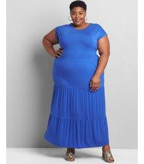 lane bryant women's tiered jersey maxi dress 26/28 dazzling blue