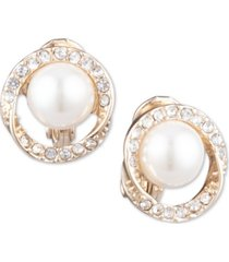 anne klein gold-tone pave & imitation pearl halo e-z comfort clip-on button earrings