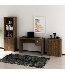 conjunto de escritã³rio com mesa, armã¡rio alto e baixo 02 nogal dallas - multicolorido - dafiti