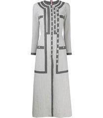 thom browne seersucker button-detail dress - grey