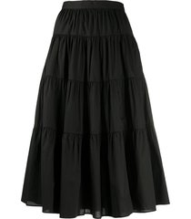 michael michael kors cotton poplin tiered skirt - black