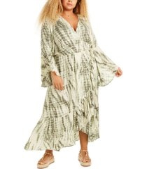 band of gypsies trendy plus size tie-dyed wrap maxi dress