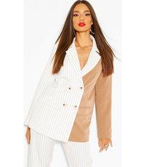 half & half contrast pinstripe oversized blazer, ivory