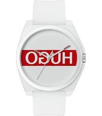 hugo unisex #play white rubber strap watch 40mm