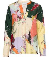 blouse w. long sleeves and round ne blouse lange mouwen multi/patroon coster copenhagen
