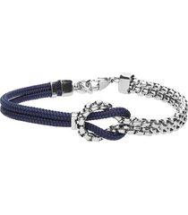 bracciale in acciaio e corda blu per uomo