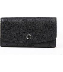 louis vuitton 4 key holder wallet mahina leather black monogram black/monogram sz: