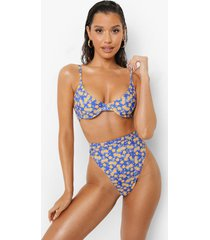 bloemen bikini top met onder buste detail, blue