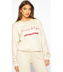 nyc brooklyn slogan print sweatshirt, stone