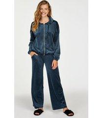 hunkemöller pyjamasbyxor i velour blå