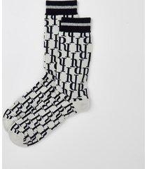 river island mens blue ri jacquard socks