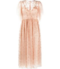 redvalentino crystal-embellished tulle dress - neutrals