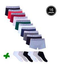 kit dorbe com 10 cuecas sungáo + 6 pares meia colorido
