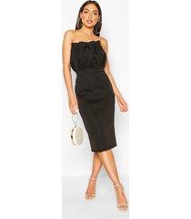 pleated top bandeau midi dress, black