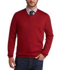 joseph abboud red apple v-neck merino wool sweater