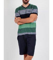 pyjama's / nachthemden admas for men pyjama kort t-shirt scratch antonio miro groen admas