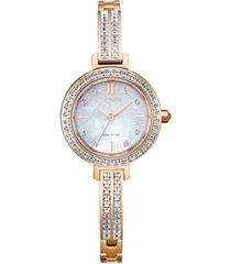 citizen eco-drive women's pink gold-tone stainless steel & swarovski crystal bangle bracelet watch 25mm