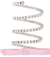 miu miu wrap-around crystal bow-detail bracelet - pink