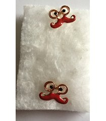 red enameled mustache post earrings, gold plate and rhinestones, plastic earnuts