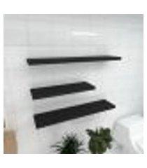 kit 3 prateleiras banheiro em mdf sup. inivisivel preto 1 60x20cm 2 90x20cm modelo pratbnp34