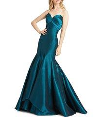 mac duggal women's strapless taffeta trumpet gown - cranberry - size 10