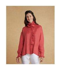 camisa moll em linho com babado e manga longa cor: vermelho - tamanho: p